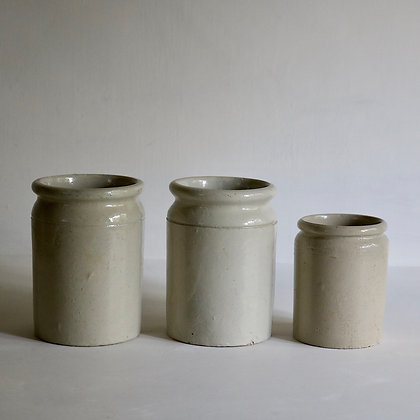 Set of 3 French Stoneware Jars