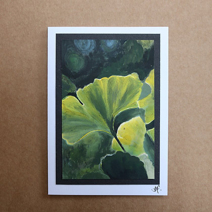 'Ginkgo Leaf' Hand Painted Greetings Card