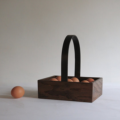 Egg Trug in Dark Brown Oak with Black Handle