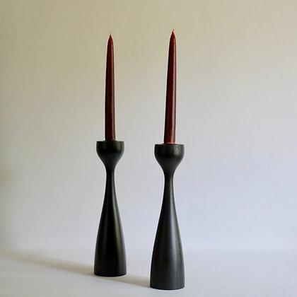 Pair of 'Yann' Candlesticks in Blackened Oak