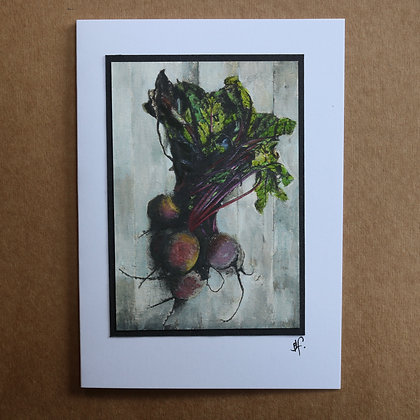 'Beetroot' Hand Painted Greetings Card