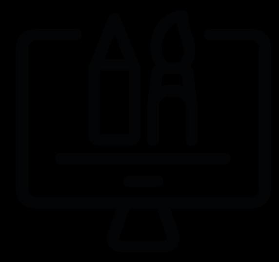 Pictograma del servicio de diseñazol, diseño gráfico, que incluye Creación de imagen empresarial (identidad visual, logotipo y aplicaciones, manual de marca...), rebranding, campañas de marketing y comunicación, desarrollo de conceptos, diseño para redes sociales, creación para el mundo digital de productos gráficos y vectoriales, Motion design, animación de vídeo, creación de Gifs animados, diseño editorial, diseño para todo tipo de productos impresos de pequeño y gran formato...