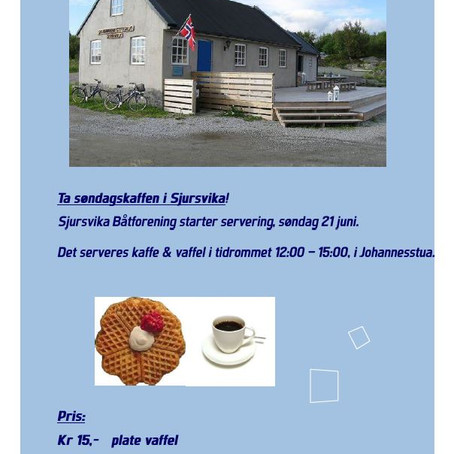 Salg av vaffel & kaffe, starter 21. juni... 👍👍