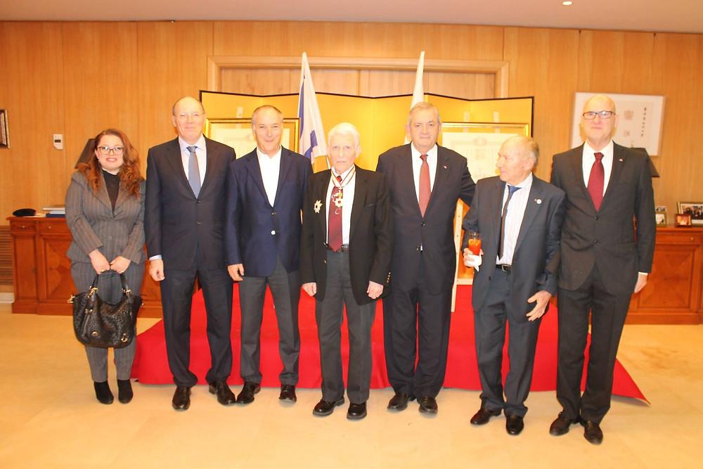 From left to right: Ms. Sophiya Berezansky,  Mr. Shmuel Shnitzer,  Mr. Zeev Weiss, Prof. Ehud Harari, Mr. Elchanan Harel,  Mr. Miki Ron,  Dr. Roni Bornstein