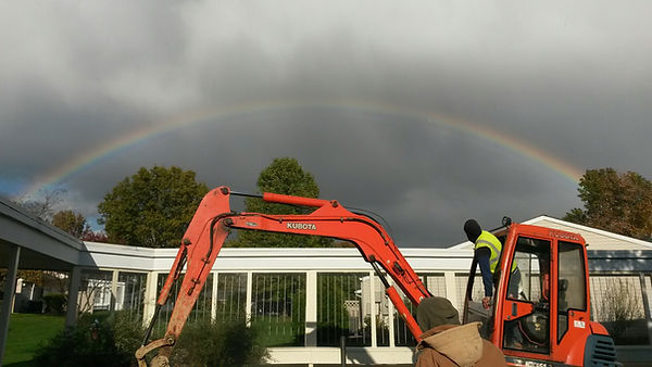 Rainbow over Kubota Excavator in Cranberry Twp on a Directional Drilling Job
