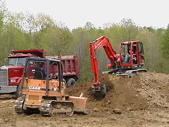 Four Generations of Greenawalt's digging a large pond for D'Ofrio's Case skid steer, western star dump truck, and excavator