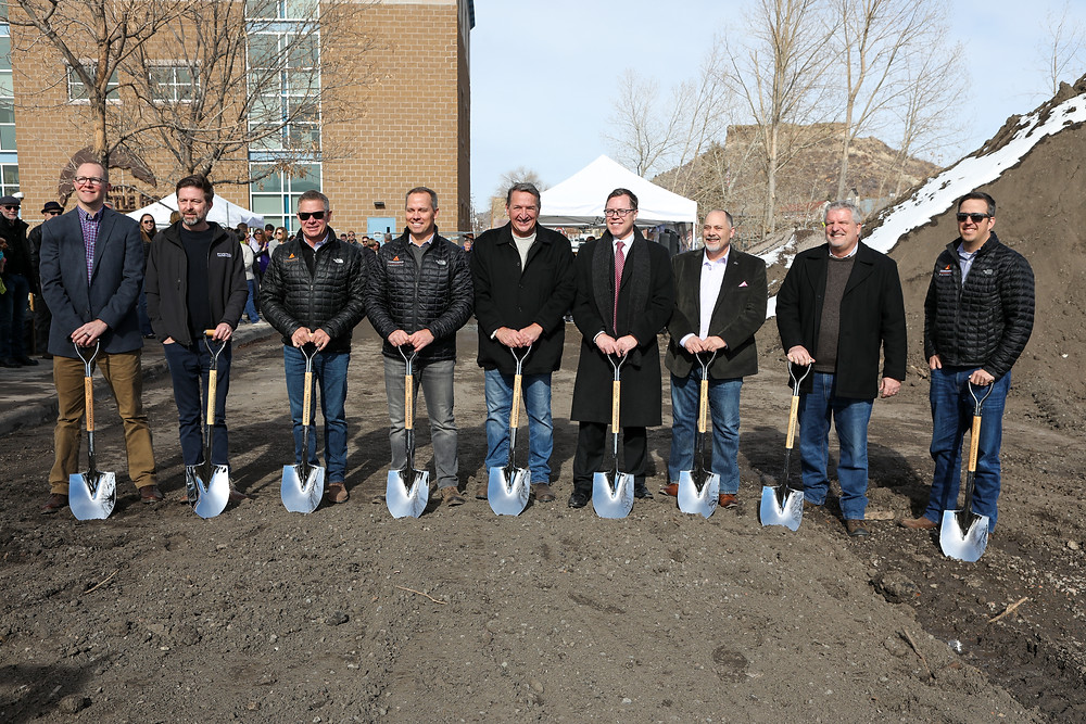 Confluence Companies, Town Officials and Downtown Alliance members break ground on 1/31/2020.