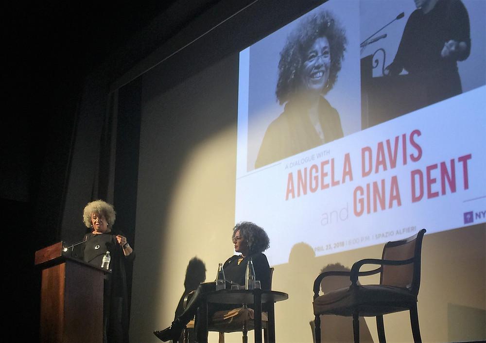 Angela Davis and Gina Dent at Monday's dialogue