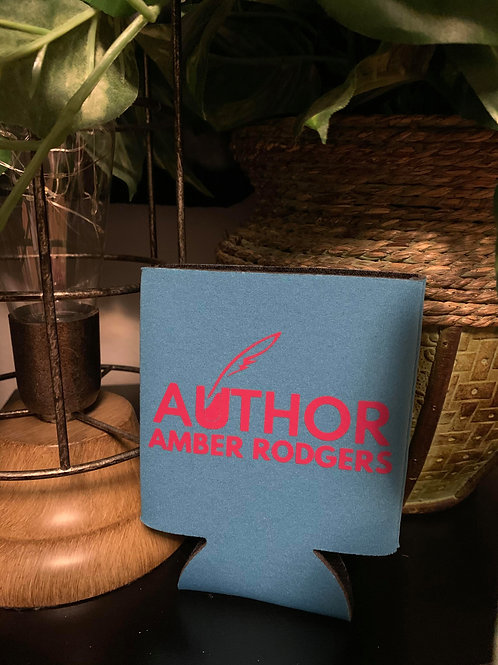 Light Blue with Hot Pink Branded Can Koozie