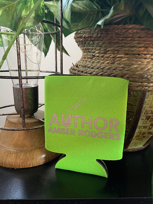 Lime Green with Silver Branded Can Koozie