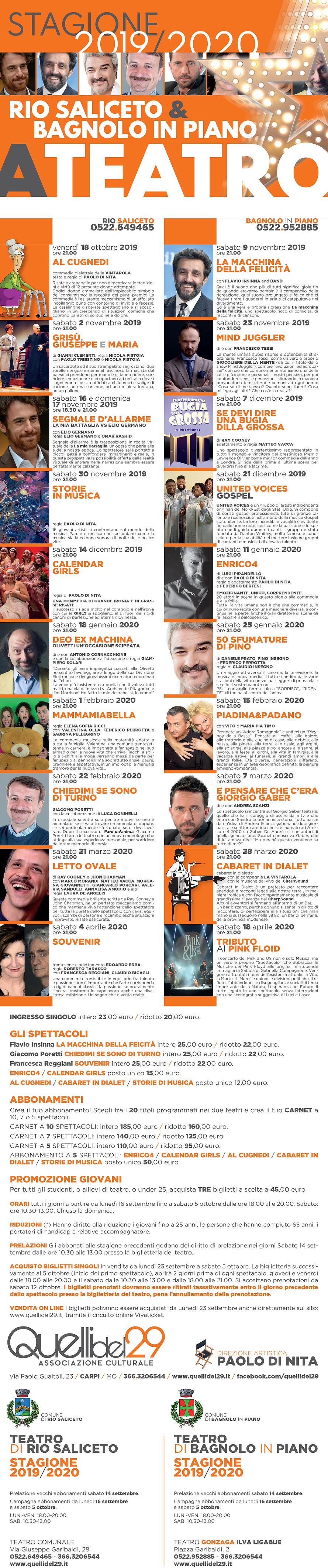Volantino Programma Teatro stagione 2019