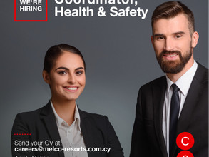 Θέση Εργασίας - Cyprus Casinos new opening Health & Safety Coordinator in Nicosia