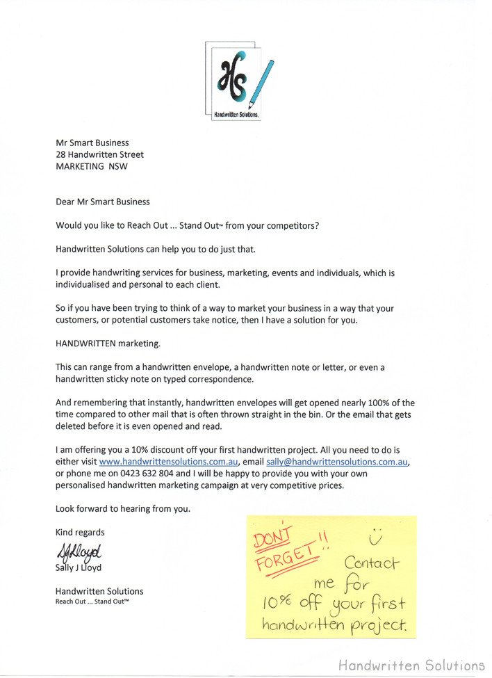Marketing Letter with Handwritten Sticky Note