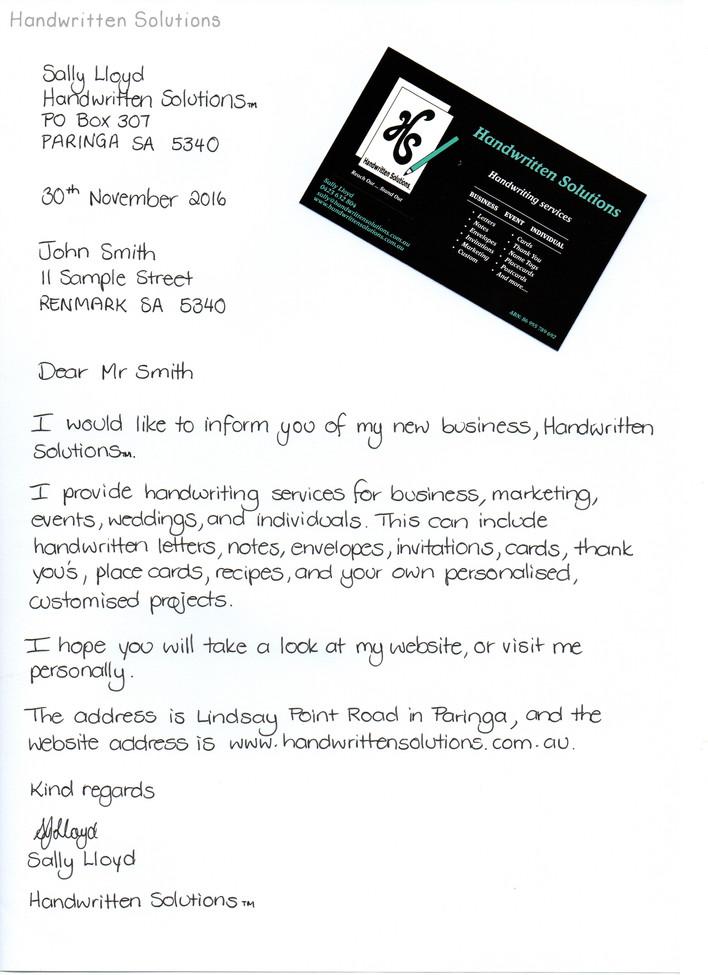 Handwritten Business Letter