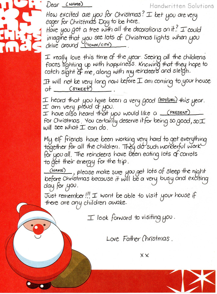 Handwritten Letter from Santa