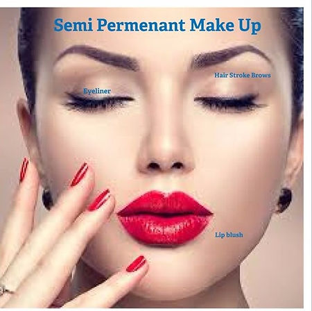 semi permanent make up for eyebrow, eyeliner and lip