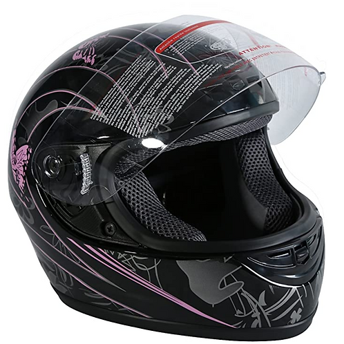Pink Black Butterfly Full Face Street Sport - Size Small only