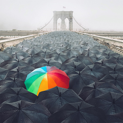 A picture of a rainbow umbrella