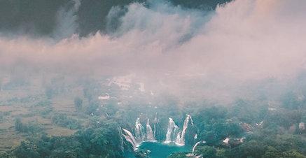 ACRYLIC GLASS ON ALUMINUM BASE Vietnam Waterfall Mountain