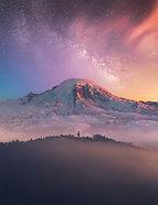 ACRYLIC GLASS ON ALUMINUM BASE Mountain Color Explosion