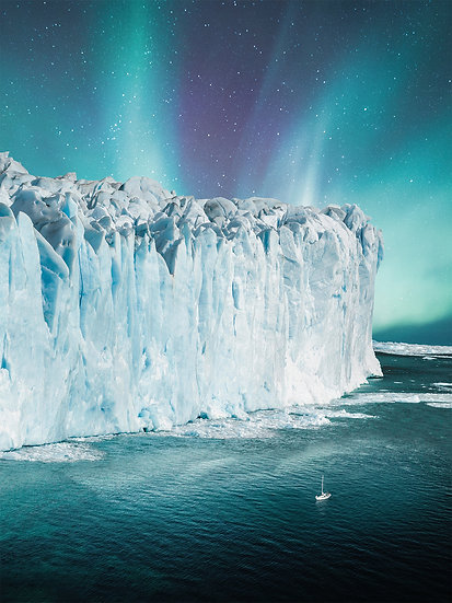 POSTER Glacier Aurora