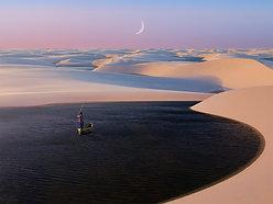 ACRYLIC GLASS ON ALUMINUM BASE Brazil Desert Lagoon