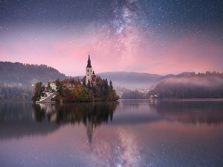 ACRYLIC GLASS ON ALUMINUM BASE Lake Bled under the Stars