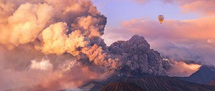 ACRYLIC GLASS ON ALUMINUM BASE Mount Bromo Eruption