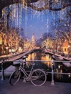 ACRYLIC GLASS ON ALUMINUM BASE Amsterdam Winter Nights