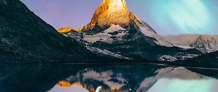 ACRYLIC GLASS ON ALUMINUM BASE Matterhorn Aurora