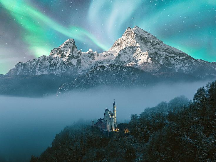 ACRYLIC GLASS ON ALUMINUM BASE Neuschwanstein Aurora