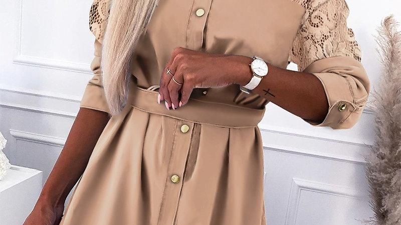 Guipure Lace Button Design Shirt Dress