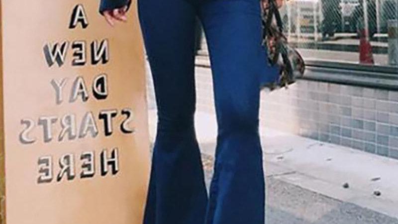 High Waist Bell-bottomed Frayed Denim Pants