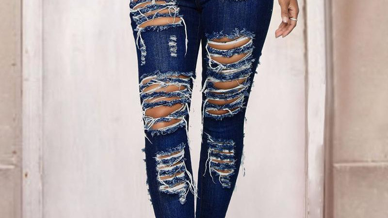 High Wasit Ladder Cutout Fringe Hem Jeans
