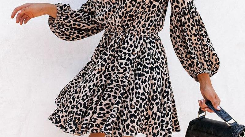 Leopard Skinny Waist Long Sleeve Dress