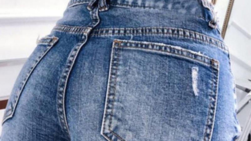 High Waist Pockets Fringe Hem Casual Denim Shorts