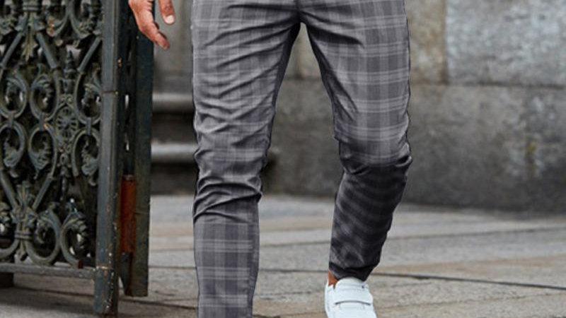 Casual Grid Skinny Long Pants