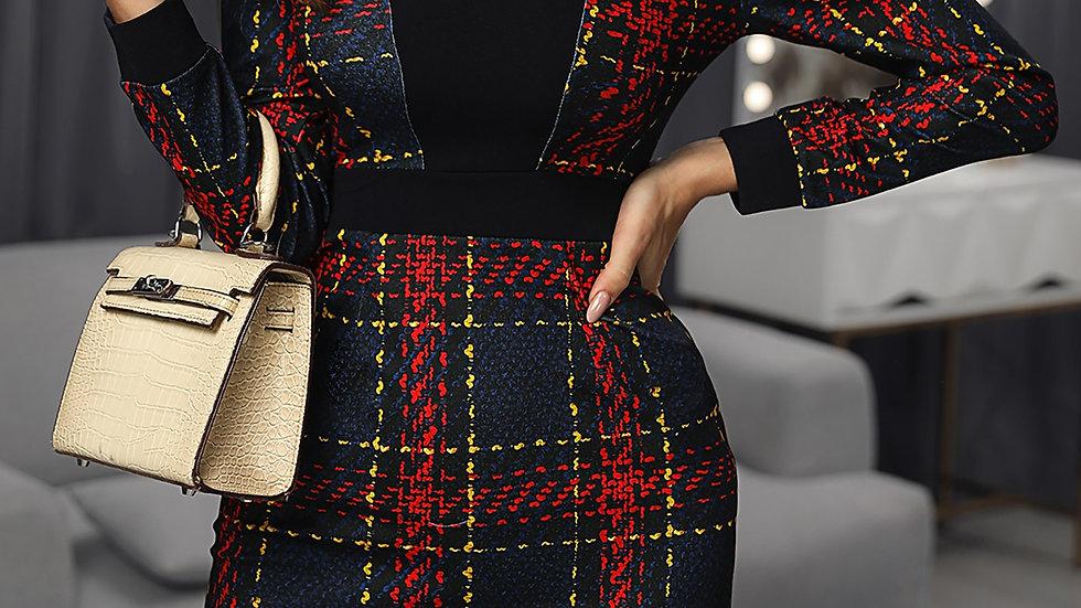 Plaid Long Sleeve Colorblock Insert Dress