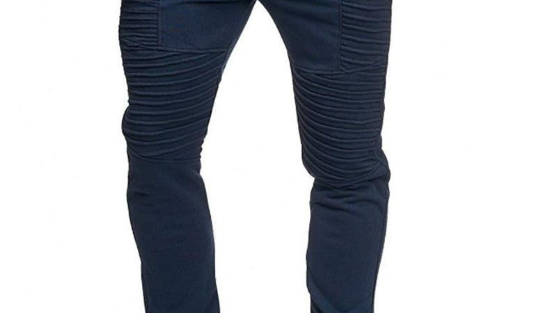 Solid Striped Embossing Drawstring Skinny Pants
