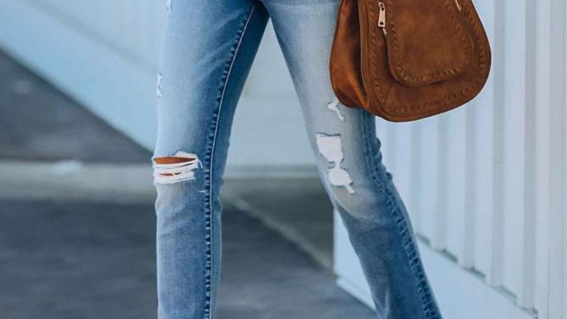 Cutout Ripped Fringe Hem Casual Jeans
