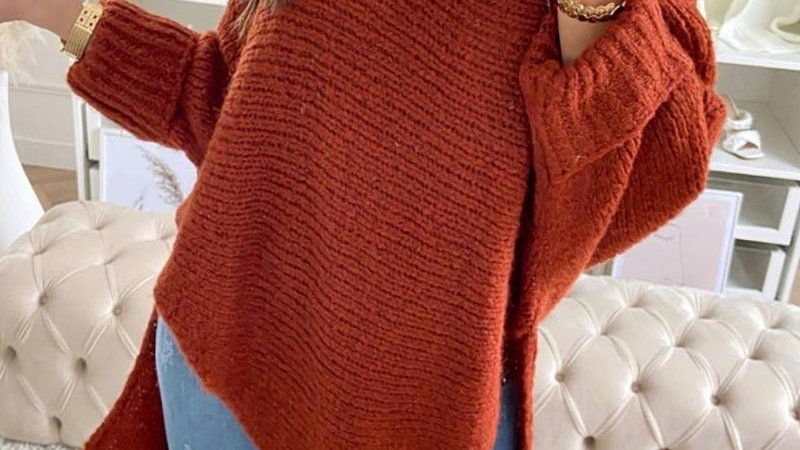 Plain Slit Dip Hem Long Sleeve Sweater