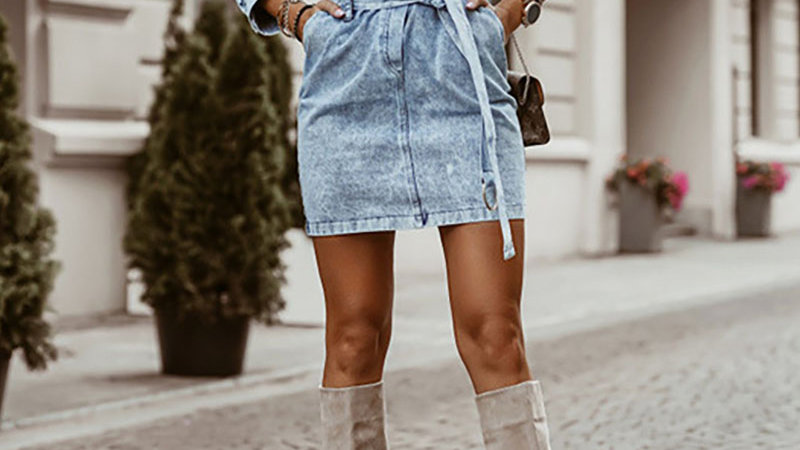 Buttoned Pocket Design Long Sleeve Denim Dress