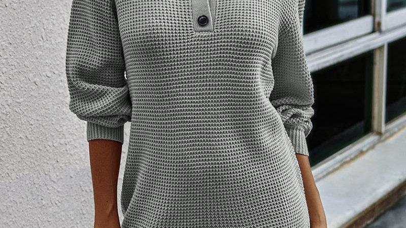 Button Design Long Sleeve Casual Dress