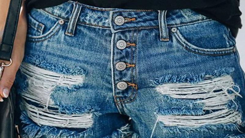 Ripped Tassel Design Denim Shorts
