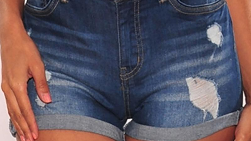 High Waist Distress Denim Shorts