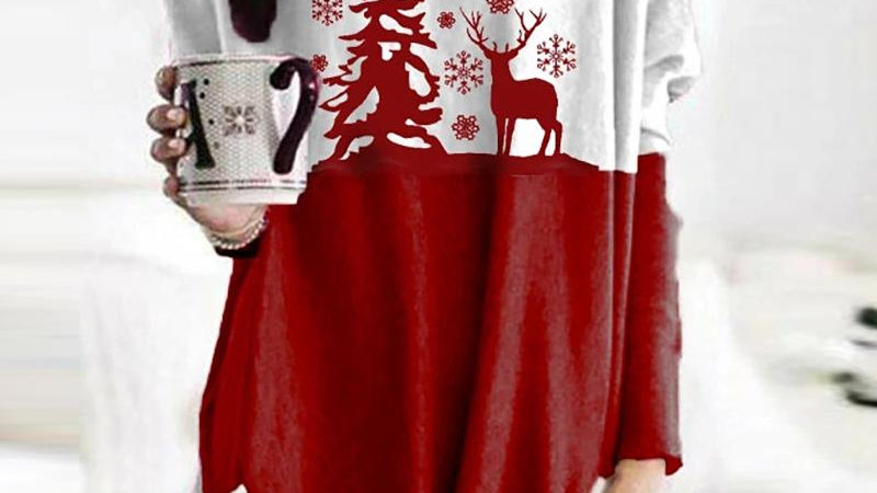 Christmas Colorblock Pocket Design Sweatshirt