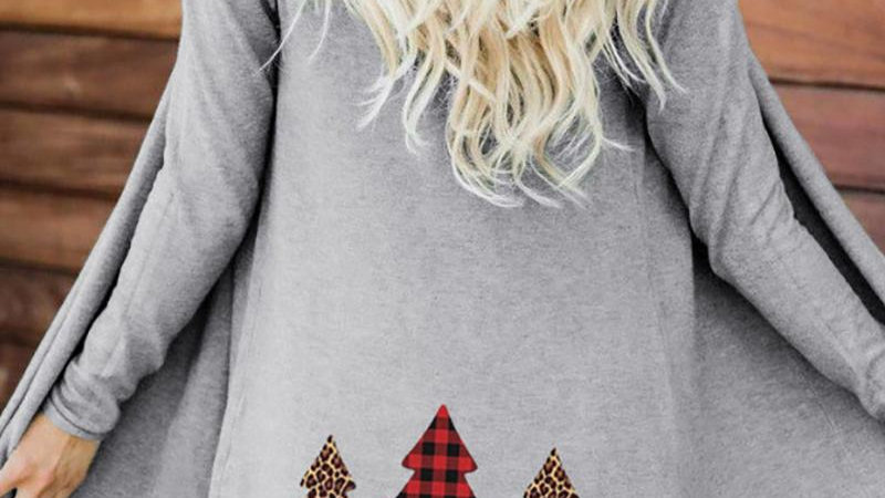 Christmas Tree Print Long Sleeve Casual Cardigan