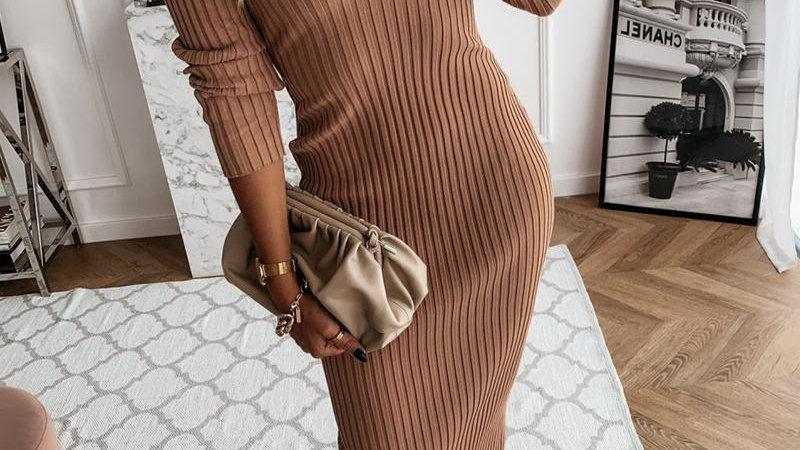 Plain Ribbed Long Sleeve Skinny Dresses