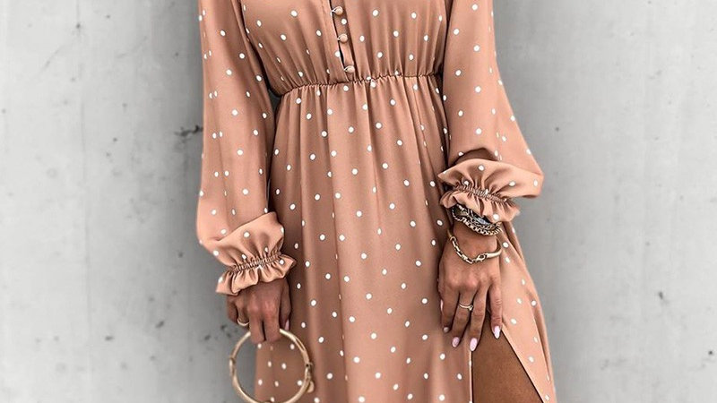 Dot Print High Slit Button Design Ruffles Dress