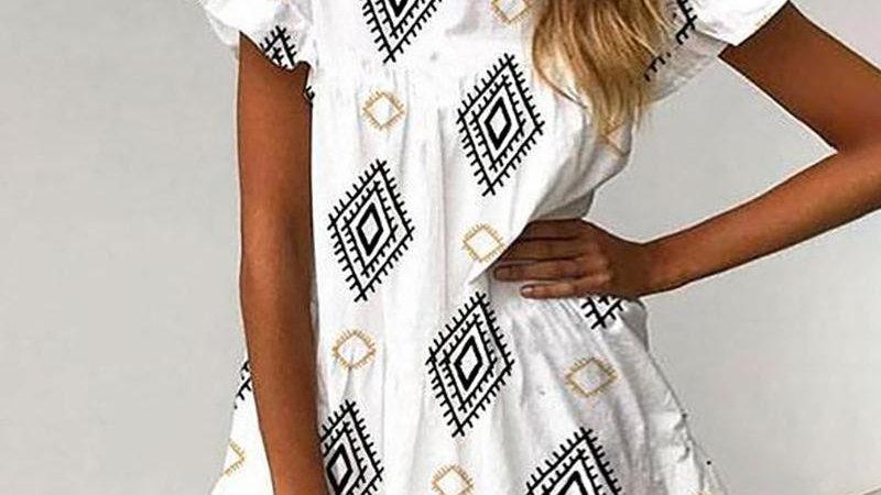 Paisley Print Ruffles Casual Dress